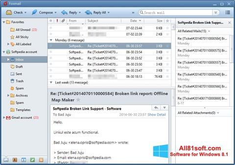 ภาพหน้าจอ FoxMail สำหรับ Windows 8.1