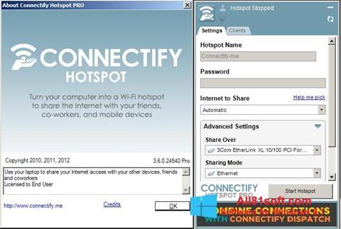 ภาพหน้าจอ Connectify สำหรับ Windows 8.1