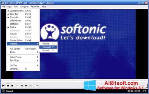ภาพหน้าจอ Media Player Classic สำหรับ Windows 8.1