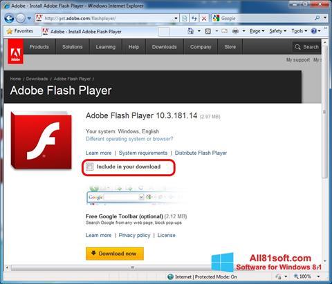 ภาพหน้าจอ Adobe Flash Player สำหรับ Windows 8.1