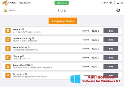 ภาพหน้าจอ Avast Free Antivirus สำหรับ Windows 8.1