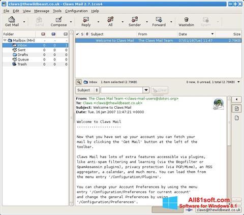 ภาพหน้าจอ Claws Mail สำหรับ Windows 8.1