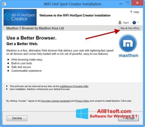 ภาพหน้าจอ Wi-Fi HotSpot Creator สำหรับ Windows 8.1