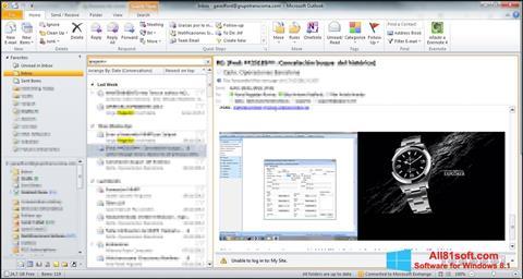 ภาพหน้าจอ Microsoft Outlook สำหรับ Windows 8.1