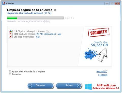 ภาพหน้าจอ PrivaZer สำหรับ Windows 8.1
