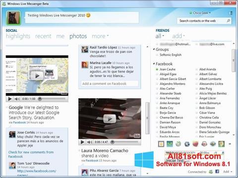 ภาพหน้าจอ Windows Live Messenger สำหรับ Windows 8.1