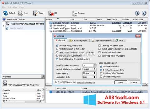 ภาพหน้าจอ Active KillDisk สำหรับ Windows 8.1