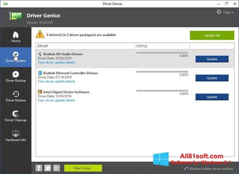 ภาพหน้าจอ Driver Genius สำหรับ Windows 8.1
