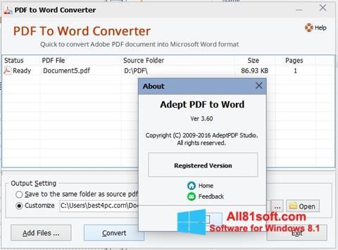 ภาพหน้าจอ PDF to Word Converter สำหรับ Windows 8.1