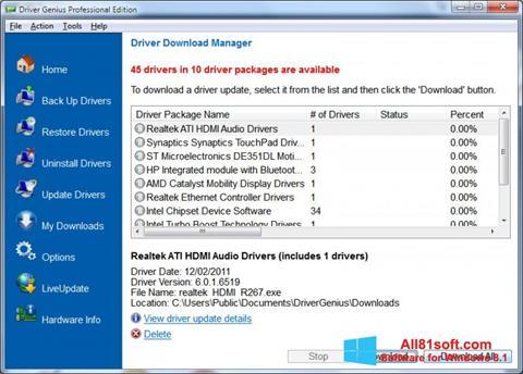 ภาพหน้าจอ Driver Genius Professional สำหรับ Windows 8.1