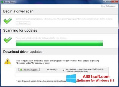 ภาพหน้าจอ Device Doctor สำหรับ Windows 8.1