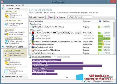 ภาพหน้าจอ Reg Organizer สำหรับ Windows 8.1
